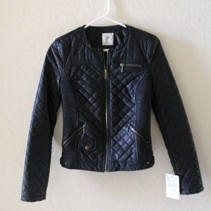 NWT ZARA MOTTO FAUX LEATHER JACKET
